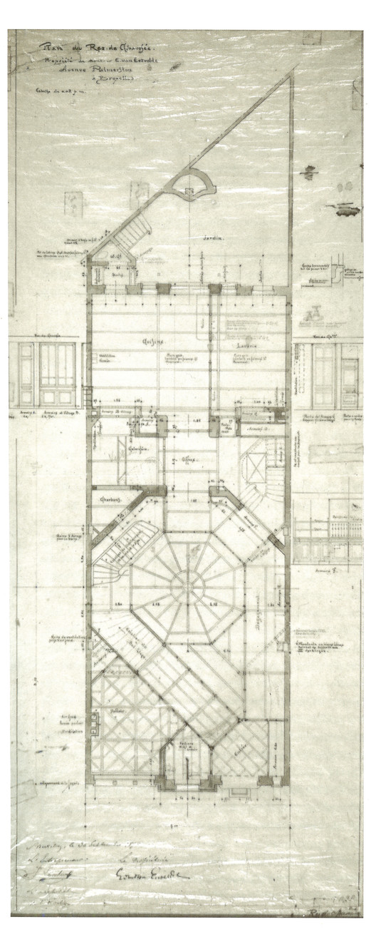 The spatial prominence of the atrium, which also served as a light well and stairwell, is readily apparent in Horta's original plans for the ground and main levels. ImageOriginal drawing by Victor Horta