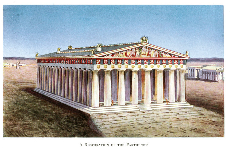 An artistic reconstruction of the Parthenon as it appeared in the Fifth Century BC; while the temple is an austere monochrome today, it was originally embellished with bright red, blue, and golden paints. ImageCourtesy of Flickr user CircaSassy (Public Domain)