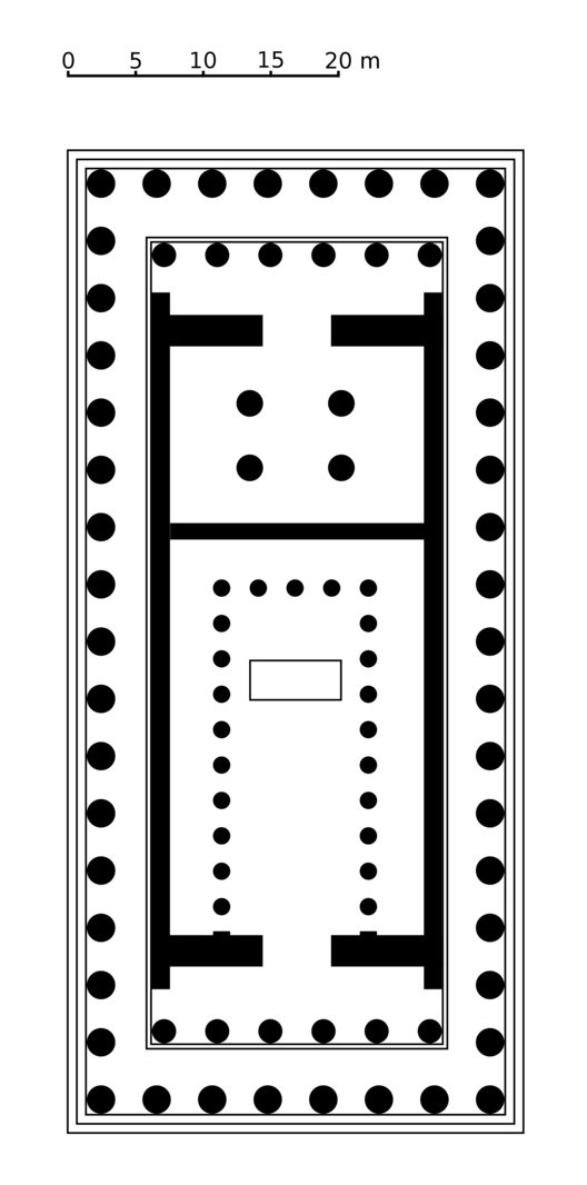 A plan of the Parthenon as it was built; the rectangle inside the cella was the base on which the sculptor Pheidias' enormous likeness of Athena Parthenos once stood. ImageCourtesy of Wikimedia user Argento (Public Domain)