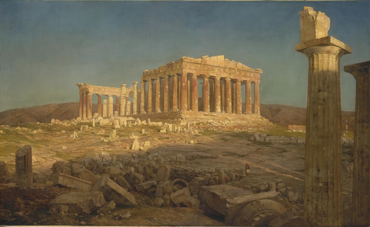 An 1871 painting of the ruined Parthenon by Frederic Edwin Church. ImageCourtesy of Wikimedia user Boo-Boo (Public Domain)