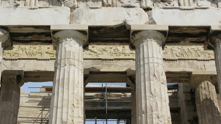 Behind the outer peristyle, the Ionic frieze portrays the entirety of the Panathenaic Procession, which took place every four years in Athens' ancient history. ImageCourtesy of Wikimedia user Marcus Cyron (licensed under CC BY 2.0)