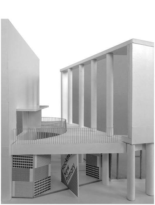 Model of school entrance. Image Courtesy of Henley Halebrown