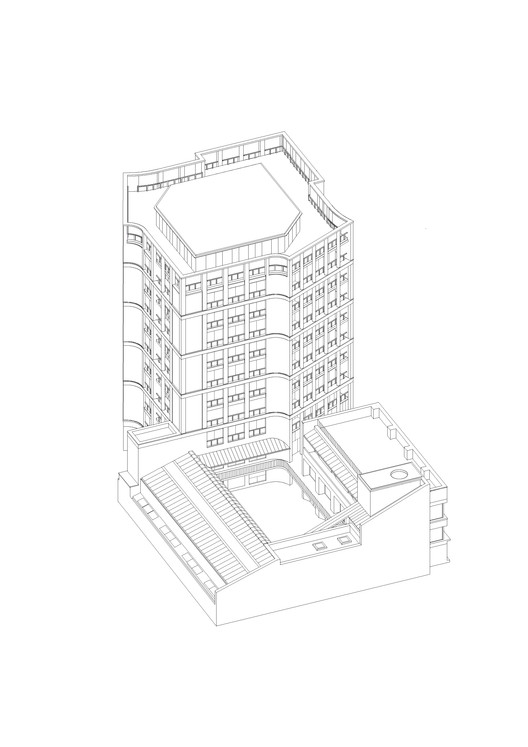 Southeast axonometric . Image Courtesy of Henley Halebrown