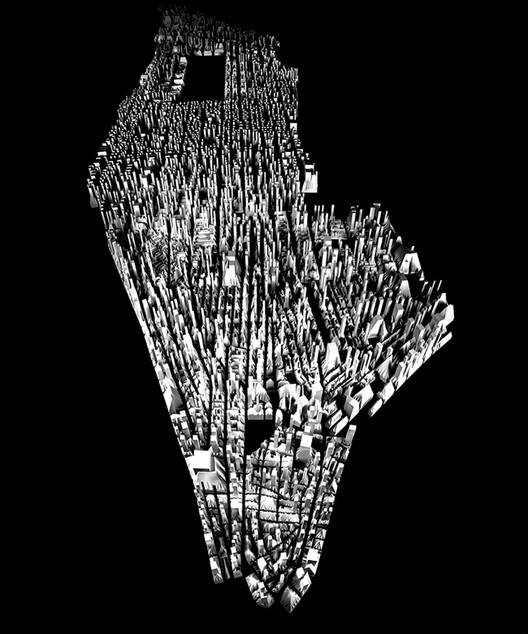 <a href='http://officeforurbanization.org/'>The Office for Urbanization</a> at Harvard GSD produced a zoning exercise along the lines of Knowles' research and applied it to Manhattan. Image Courtesy of Charles Waldheim