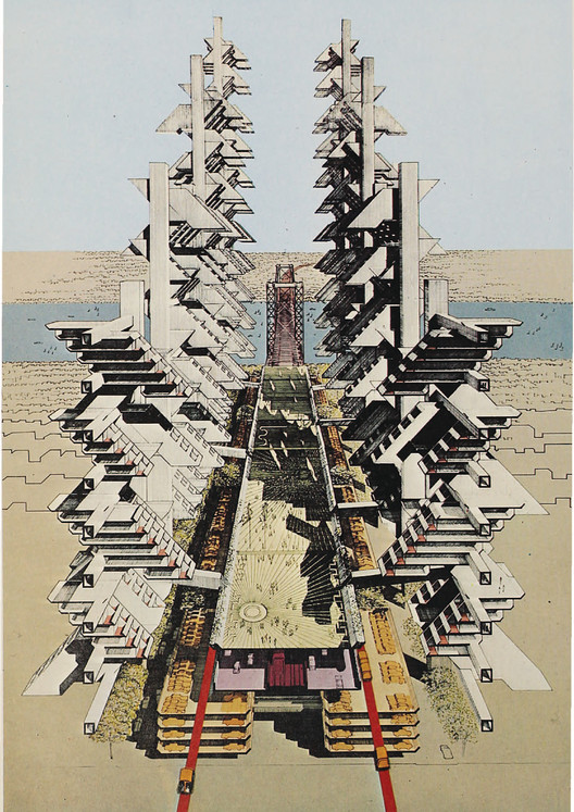 Paul Rudolph's City Corridor design, commissioned in 1967 in response to Robert Moses' failed Lower Manhattan Expressway. Image Courtesy of Metropolis Books