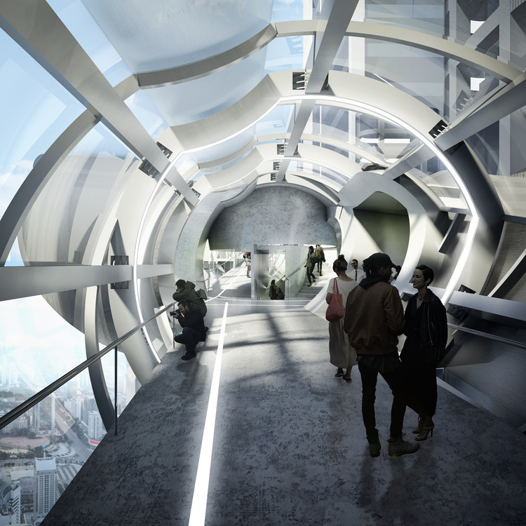 Preliminary Research Office Proposes Conical Sky-Bridge for Drone Observation in Shenzhen, © Preliminary Research Office