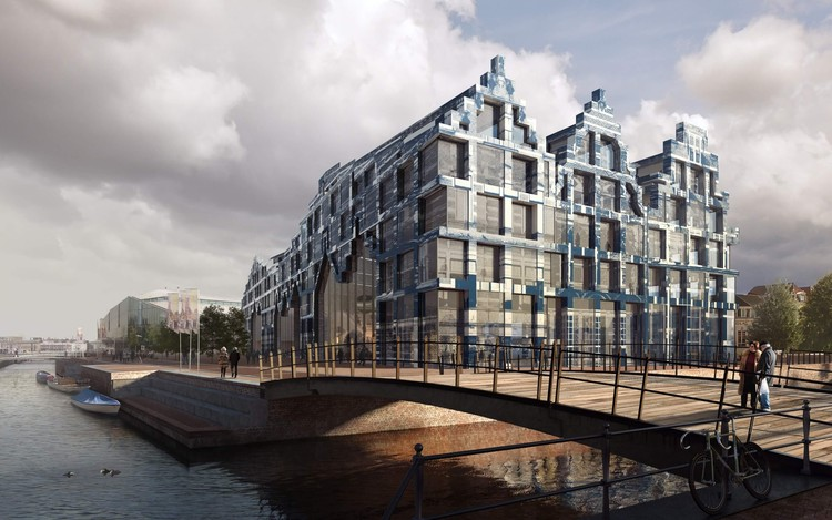 Ode to Pioneers - A Vision For The 'House of Delft' Mixed-Use Hub, Three tall facades take inspiration from famous historic Delft dwellings. Image Courtesy of Van Dongen-Koschuch Architects and Planners