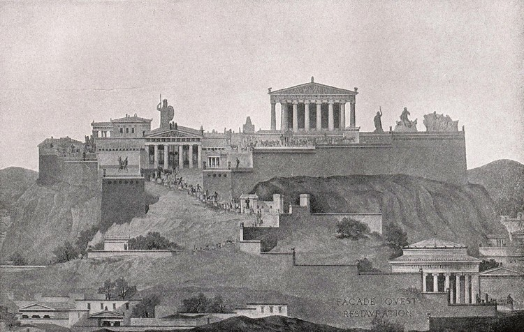 AD Classics: Acropolis of Athens / Ictinus, Callicrates, Mnesikles and Phidias, An elevation of the entire Acropolis as seen from the west; while the Parthenon dominates the scene, it is nonetheless only part of a greater composition. ImageCourtesy of Wikimedia user Quibik (Public Domain)