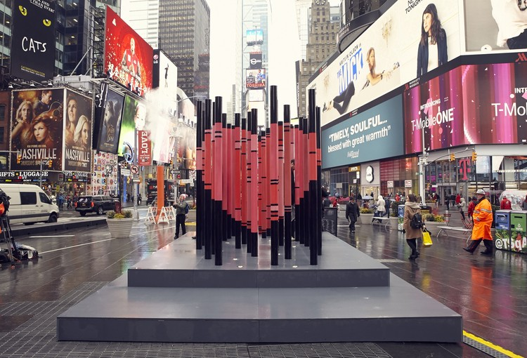 Immigration-Themed Valentine's Day Heart Erected in Times Square, © Justin Bettman for @TSqArts