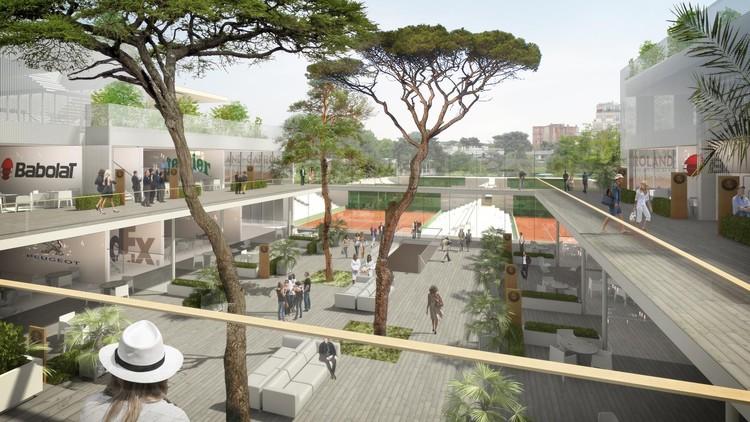 Roland Garros Village. Imagen © FFT / Arquitectos: Atelier d'architecture Chaix & Morel and associates / ACD Girardet et associés / Paisajismo: Team Corajoud / Visualización a cargo de 3dfabrique