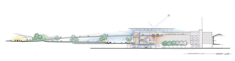This elevation of the Modern Wing at the Art Institute of Chicago shows the gently-sloping bridge that connects to Millennium Park.. Image © Renzo Piano Building Workshop