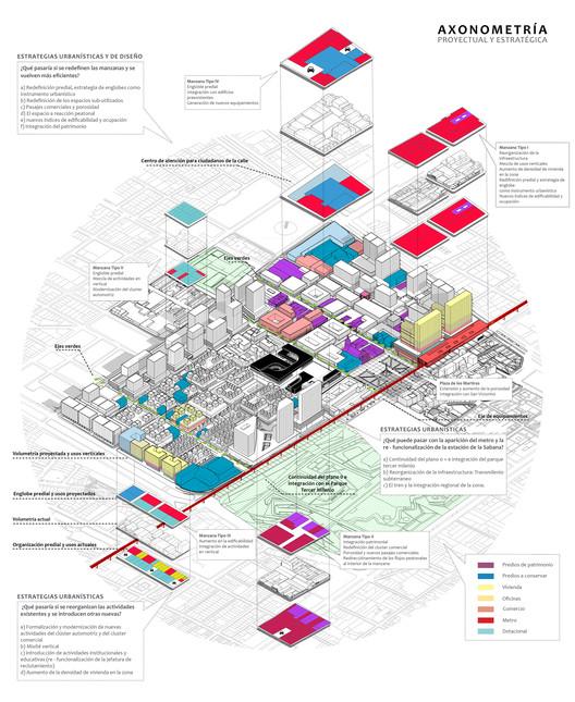 Axonometría urbana. Image Cortesía de CAU