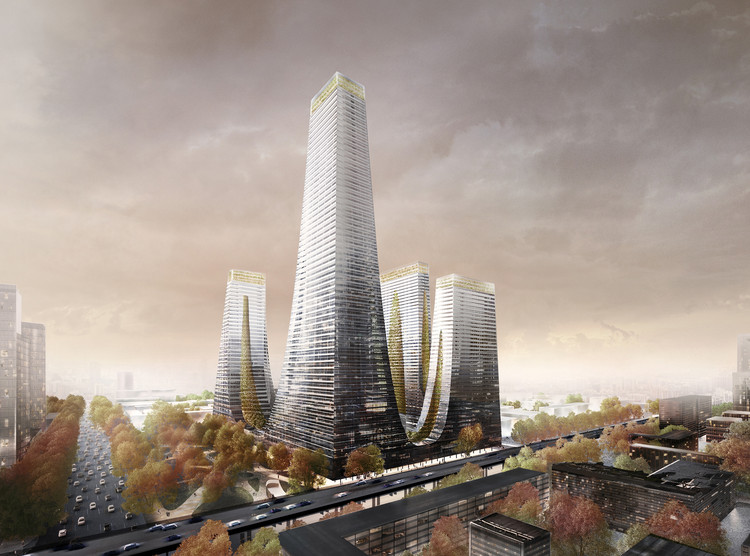 Tonkin Liu Reveals the Cradle Towers of Zhengzhou, The Cradle Towers of Zhengzhou will contain apartments, offices, retail, leisure, and a hotel. Image Courtesy of Tonkin Liu