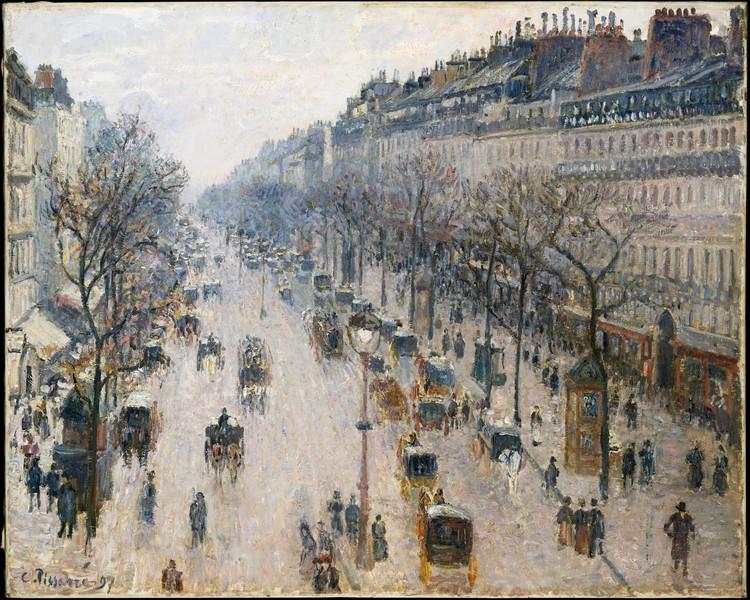 MET Museum disponibiliza 375 mil imagens de obras para download gratuito, O Bulevar Montmartre em uma manhã de inverno. Pintura de Camille Pissarro, 1897. Óleo sobre tela. Licença CC0 1.0. Image via MET