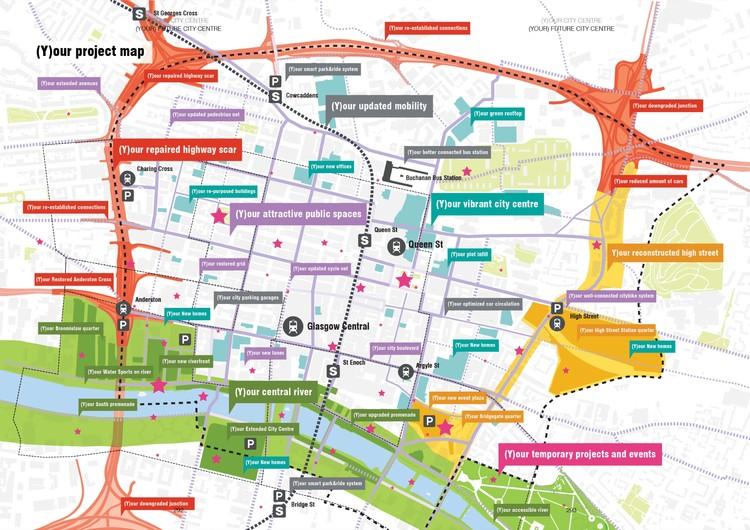 MVRDV + Austin-Smith:Lord Selected to Reinvigorate Downtown Glasgow, (Y)our City Center Map. Image Courtesy of MVRDV