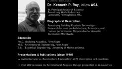 Conferencia de Kenneth P. Roy: 'Building acoustic design and indoor environmental quality'