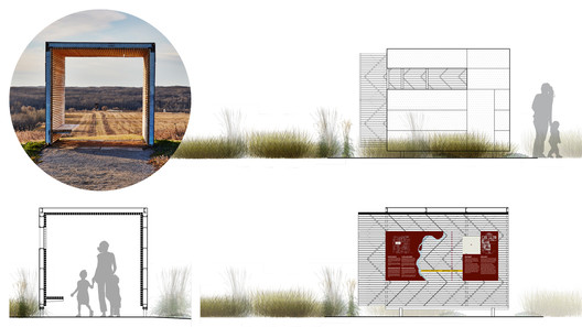 Viewing lens elevations. Image © Peter Lawrence; Rendering: Ekistics Planning & Design
