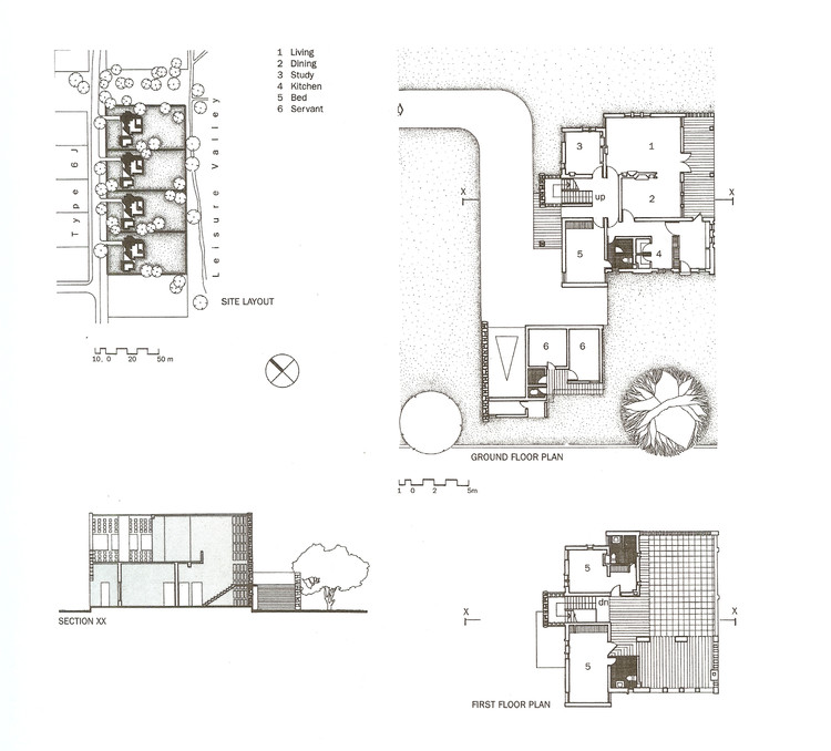 Drawings for Type 5J Housing, intended for mid-level civil servants. ImageCourtesy of Mapin