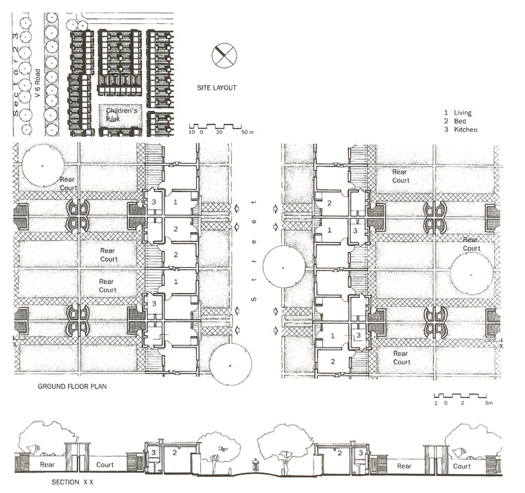 Drawings for the lowest level of housing, Type 13D. ImageCourtesy of Mapin