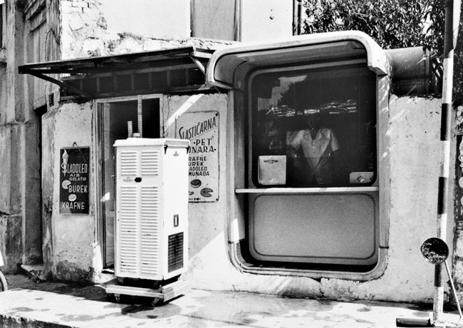 Over the decades, the existing kiosks have been adapted for additional uses, like this café in Bosnia and Herzegovina. Image Courtesy of Museum of Architecture & Design, Ljubljana