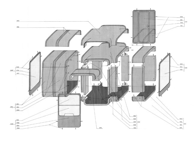 Exploded axonometric drawing of the second generation of the K67 from 1972. Image Courtesy of Museum of Architecture & Design, Ljubljana