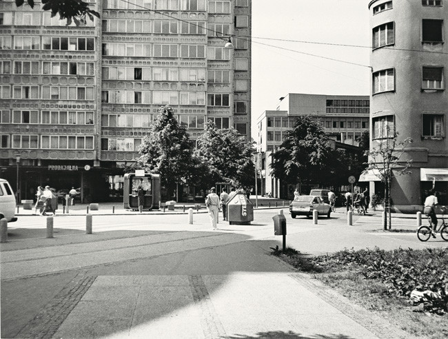 "In the early '70s, Mächtig produced the TD 1 telephone hood, which was made of curved Plexiglas. He developed the design further in conjunction with several other objects intended for public squares and sidewalks—Mächtig dubbed them ""street equipment""—such as this square in Ljubljana, in which a K67 unit, a Žaba 1, and an EKOS recyclable-waste bin cohabitate. Image Courtesy of Museum of Architecture & Design, Ljubljana"