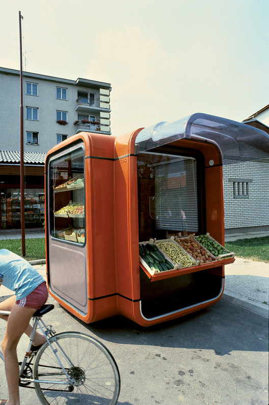 Kiosk K67 as fruit and vegetable stand. Image Courtesy of Museum of Architecture & Design, Ljubljana
