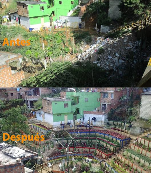 130 Lixões de Medellín são transformados em jardins públicos, Antes / depois do bairro Villa del Socorro Comuna 2, Medellín. Imagem © Secretaría del Medio Ambiente de Medellín
