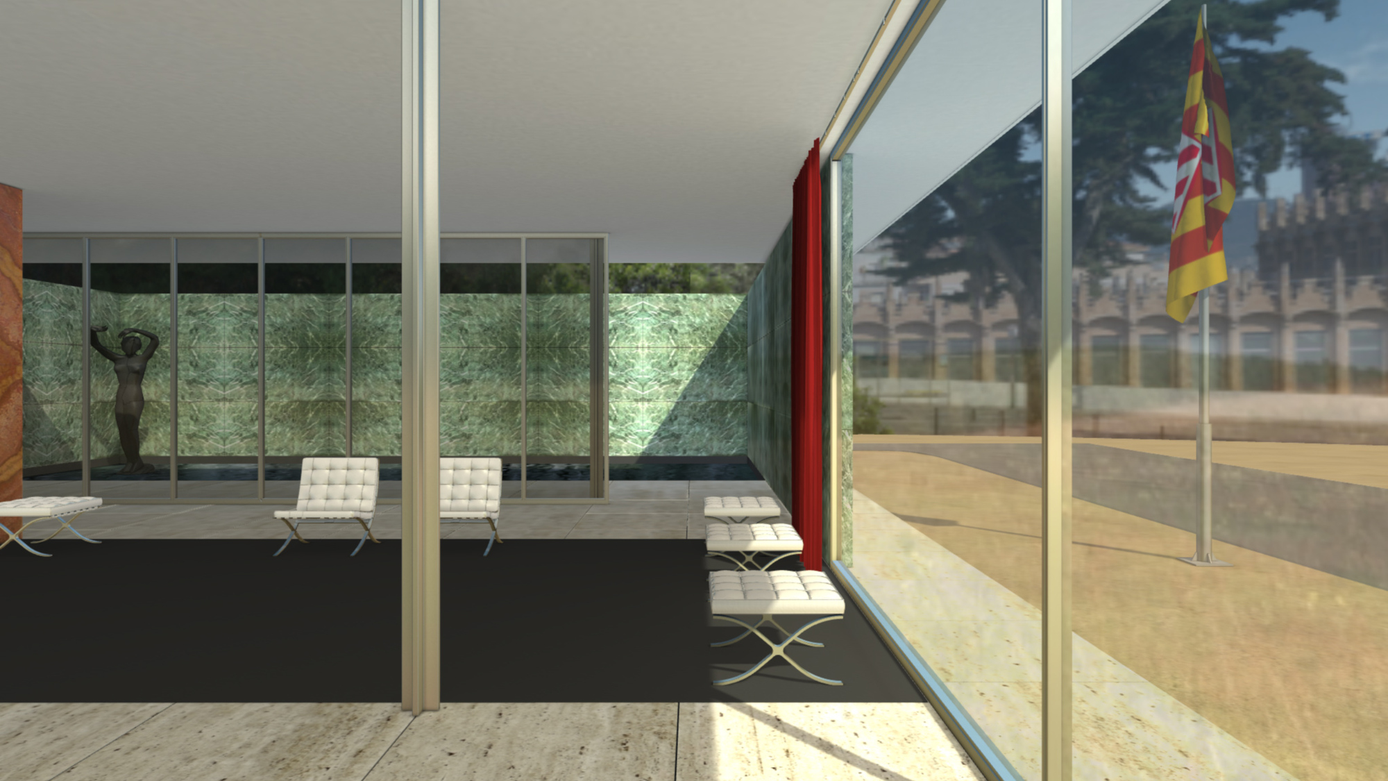 step into mies van der rohe 39 s barcelona pavilion in this virtual walkthrough archdaily. Black Bedroom Furniture Sets. Home Design Ideas
