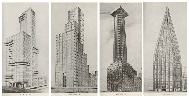 Chicago Architecture Biennial to Exhibit 16 Tribune Tower Redesigns, Designs for the Chicago Tribune Tower by (left to right) Walter Gropius and Adolf Meyer; Max Taut; Adolf Loos; and Bruno Taut, Walter Gunther, and Kurz Schutz. Image via skyscraper.org