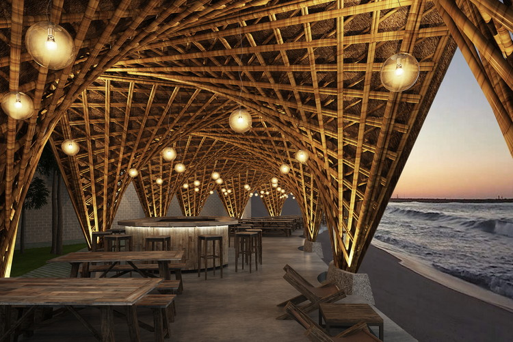 Vo Trong Nghia Architects Designs Bamboo Beachfront Resort in Vietnamese Cove, Courtesy of Vo Trong Nghia Architects (VTN Architects)
