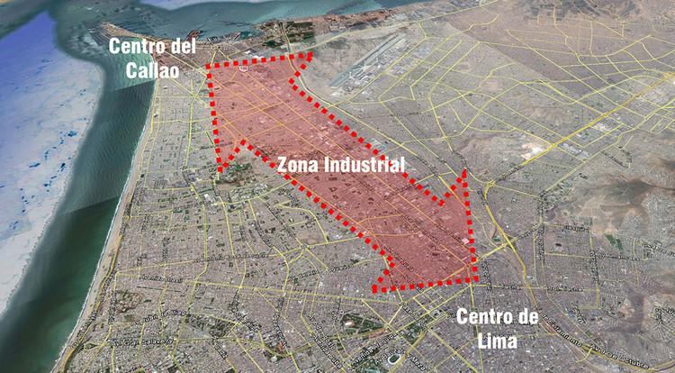 Esquema de ubicación de zona industrial del Cercado de Lima y Callao. Image © Google Earth 2017