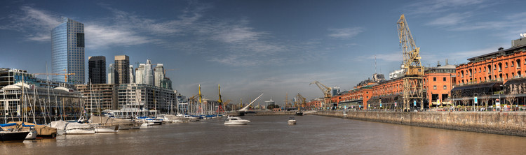 Puerto Madero, Buenos Aires. Image © Wikipedia User: Luis Argerich - Flickr: Puerto Madero Panorama, Licensed under CC BY 2.0