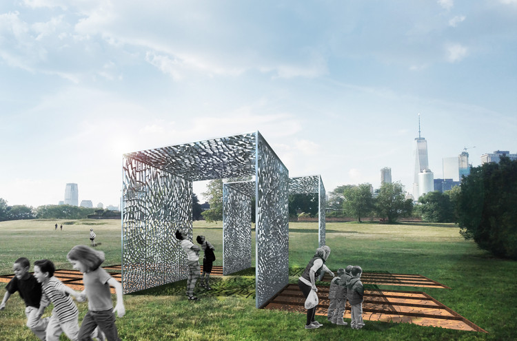 Pavilion Made from Aluminum Cans and Cracked Clay Wins 2017 City of Dreams Competition, Courtesy of Team Aesop (Josh Draper, Lisa Ramsburg, Powell Draper, Edward M. Segal, and Max Dowd)