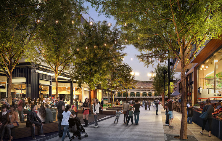 4 Important Things to Consider When Designing Streets For People, Not Just Cars, Perkins+Will's proposed plan for Mission Rock in San Francisco. Image © Steelblue/Perkins+Will/San Francisco Giants
