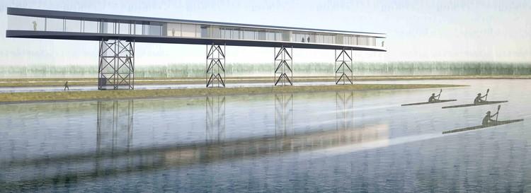The design concept evokes the image of a rowing boat cutting through water. Image Cortesía de BIVAK