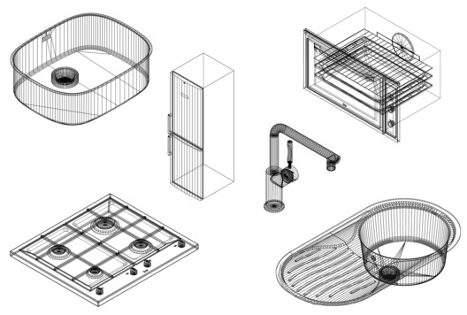 Stoves, Sinks, and Refrigerators: Downloadable CAD Blocks for Kitchen Designs
