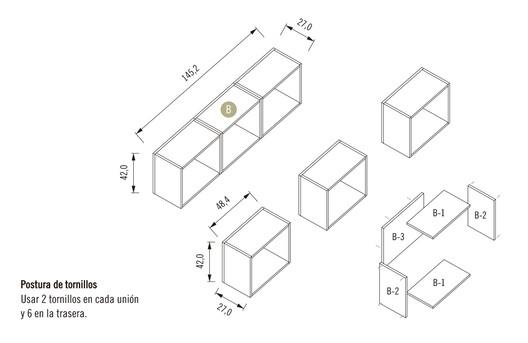 Módulo 1 / Mueble Superior con 3 Repisas
