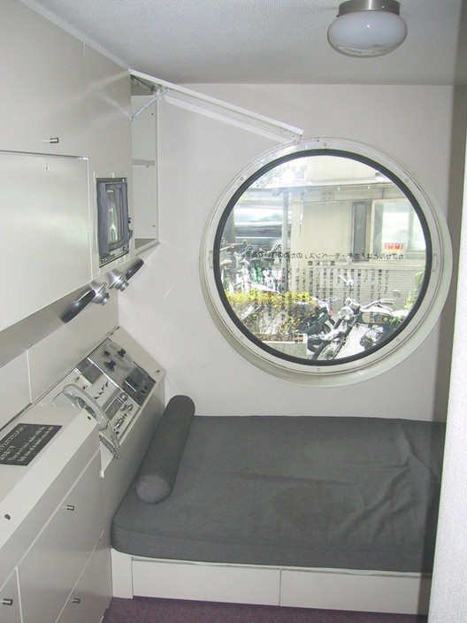 Interior of the Nakagin Capsule Tower. Image © <a href='https://commons.wikimedia.org/wiki/File:Nakagin_Capsule_Tower_03.jpg'>Wikimedia user Wiiii</a> licensed under <a href='https://creativecommons.org/licenses/by-sa/3.0/deed.en'>CC BY-SA 3.0</a>