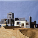 Frank Gehry, Sirmai-Peterson House, modelo, 1983-1988; Thousand Oaks, Califórnia; Frank Gehry Papers no Getty Research Institute