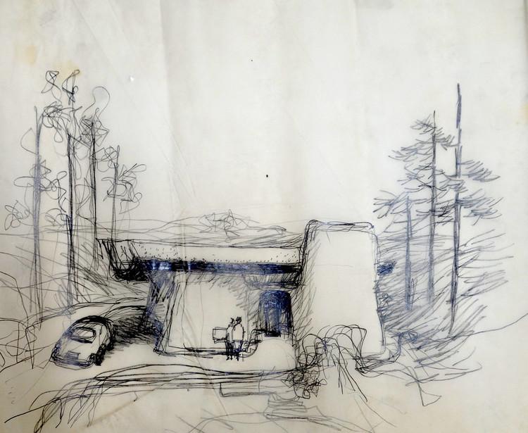 Frank Gehry, Greber Studio Sketch, 1967, não construído; Beverly Glen, Califórnia; Frank Gehry Papers no Instituto de Pesquisa Getty, © Frank O. Gehry