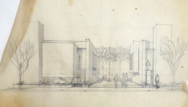 Frank Gehry, Danziger Studio e Residence Sketch, 1964; Hollywood, Califórnia; Frank Gehry Papers no Instituto de Pesquisa Getty, © Frank O. Gehry