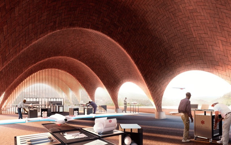 Droneport in Rwanda. Image Courtesy of Foster + Partners
