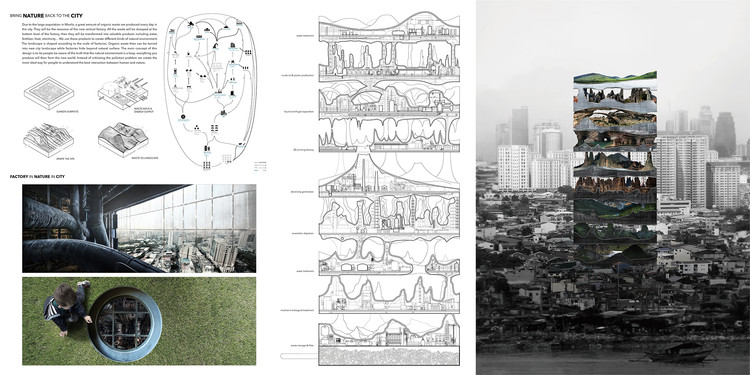Second Place: Vertical Factories in Megacities / Tianshu Liu and Lingshen Xie. Image Courtesy of eVolo