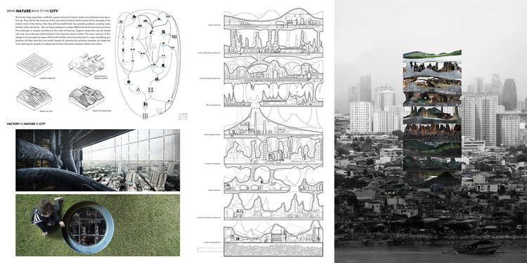 Segundo lugar: Vertical Factories in Megacities / Tianshu Liu and Lingshen Xie. Cortesia de eVolo
