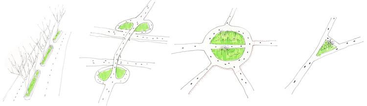 Canteiros verdes definidos por rodovias. Image © IKEDA, 2016