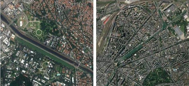 Raia olímpica da USP e Bacia de la Villette em Paris, fotos aéreas na mesma escala. . Image © Google Maps