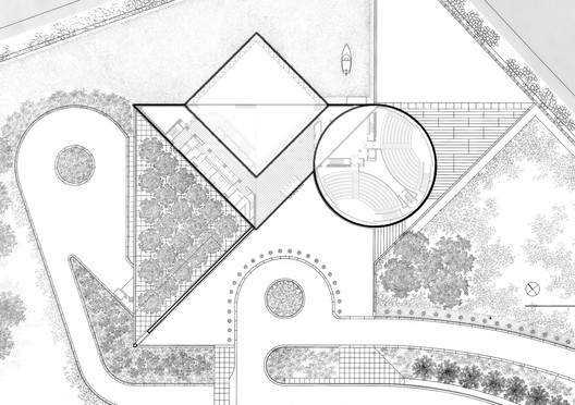 Plan of JFK Library in Massachusetts as a Combination of Primitive Shapes: Triangle, Circle and Square. Image Courtesy of Tianci Han