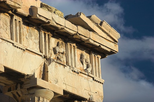 Metopes. Corner of the western frieze of the Parthenon. Image © Wikipedia User: Thermos. Licensed Under CC BY-SA 2.5