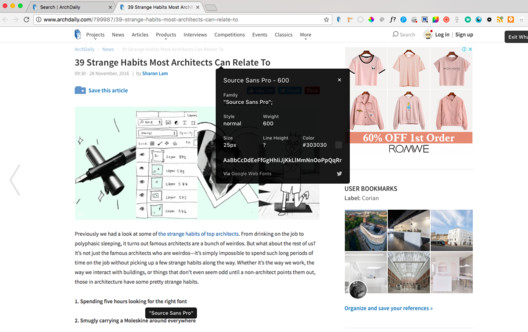 WhatFont Chrome Extension. Image